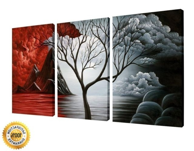 3 Panels 3D Wall Decor Canvas Print Art Framed Abstract Flower regarding Best and Newest 3D Wall Art Canvas