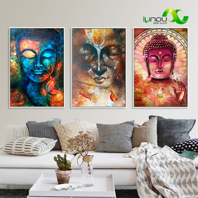 3 Pcs Large Buddha Canvas Wall Art Painting Buddha Picture Canvas Regarding Most Recently Released Large Buddha Wall Art (View 4 of 15)