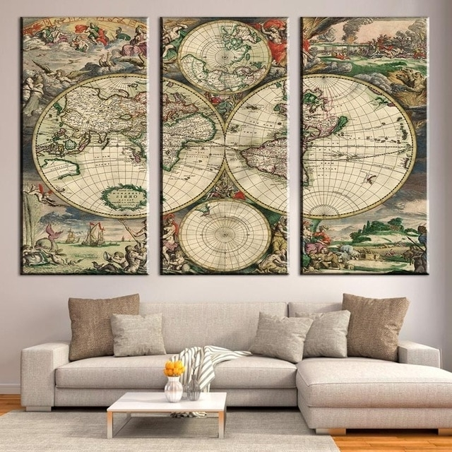 3 Pcs/set Retro Europe Old World Map Canvas Prints Painting Amazing Pertaining To Most Popular Abstract World Map Wall Art (View 3 of 15)