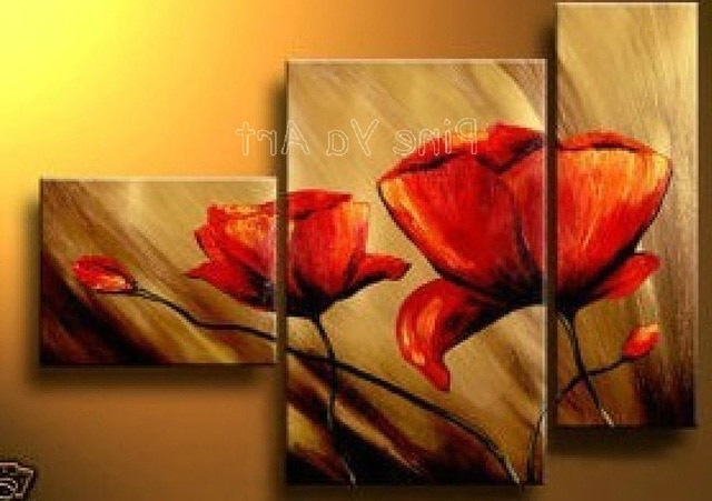 3 Piece Abstract Modern Canvas Wall Art Cheap Handmade Red Poppy Within Fashionable Red Poppy Canvas Wall Art (View 2 of 15)