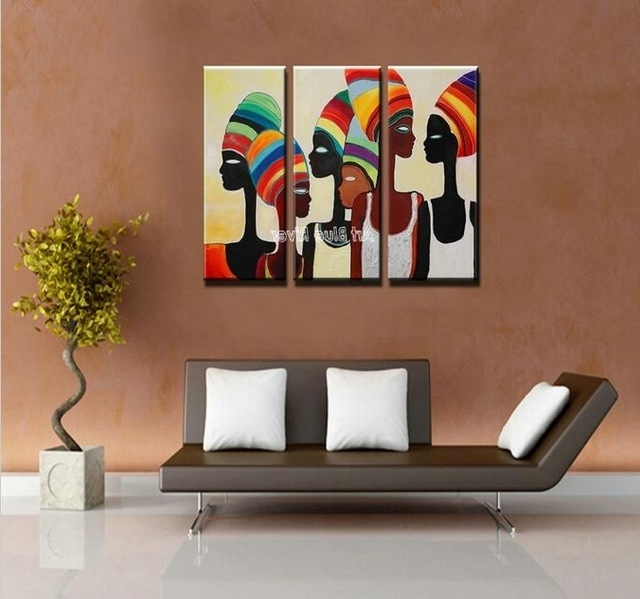 3 Piece Acrylic Modern Abstract Canvas Art Hand Painted African Pertaining To Most Popular Acrylic Abstract Wall Art (View 5 of 15)