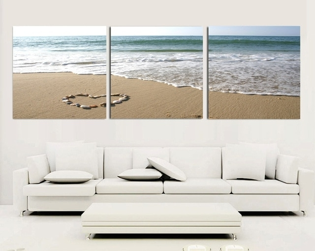 3 Piece Canvas Wall Art Sets Beach Painting Heart Stone Oil With Regard To Trendy 3 Piece Wall Art Sets (View 4 of 15)