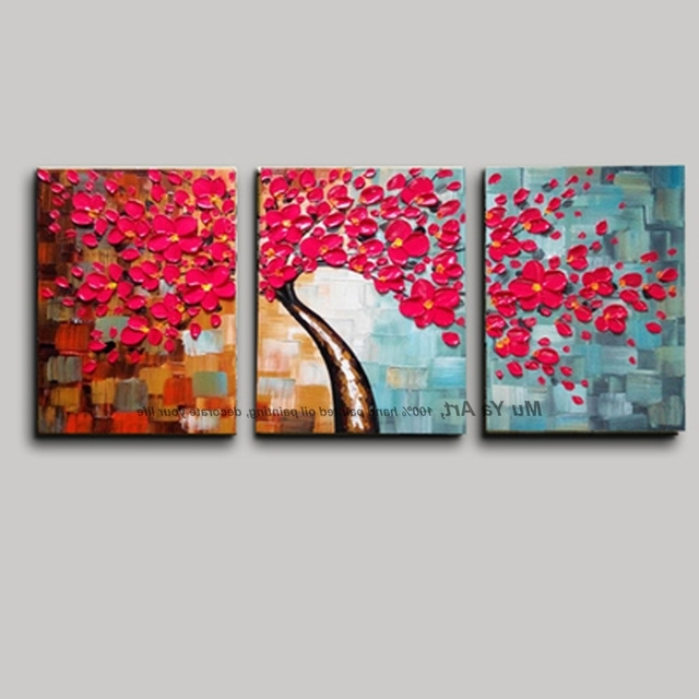 3 Piece Floral Canvas Wall Art Regarding Most Recently Released 3 Piece Canvas Wall Art With Red Wall Picture Modern Flower Colorful (View 8 of 15)