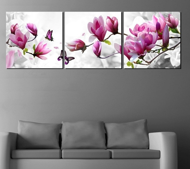 3 Piece Floral Canvas Wall Art Throughout Well Liked Luxury Elegant Canvas Painting Wall Pictures 3 Panel Wall Art Such (View 15 of 15)