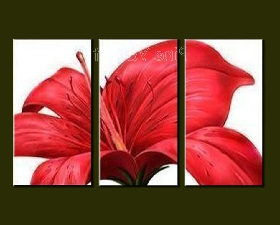 3 Piece Floral Canvas Wall Art Within Newest 3 Piece Abstract Modern Canvas Wall Art Decorative Red Flower (View 11 of 15)