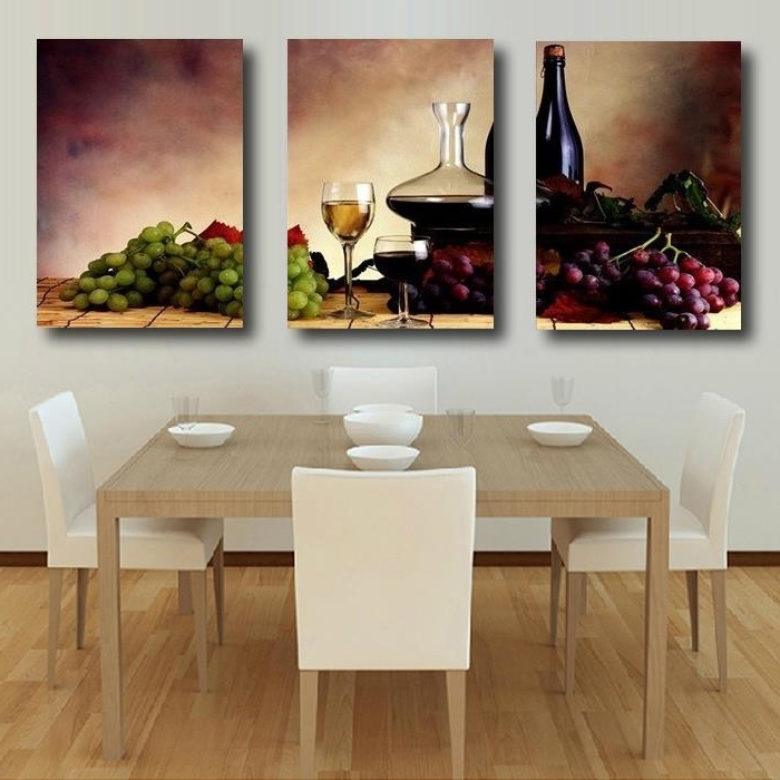 3 Pieces Free Shipping Modern Wall Oil Painting Abstract Wine Fruit Regarding Well Liked Abstract Kitchen Wall Art (View 1 of 15)