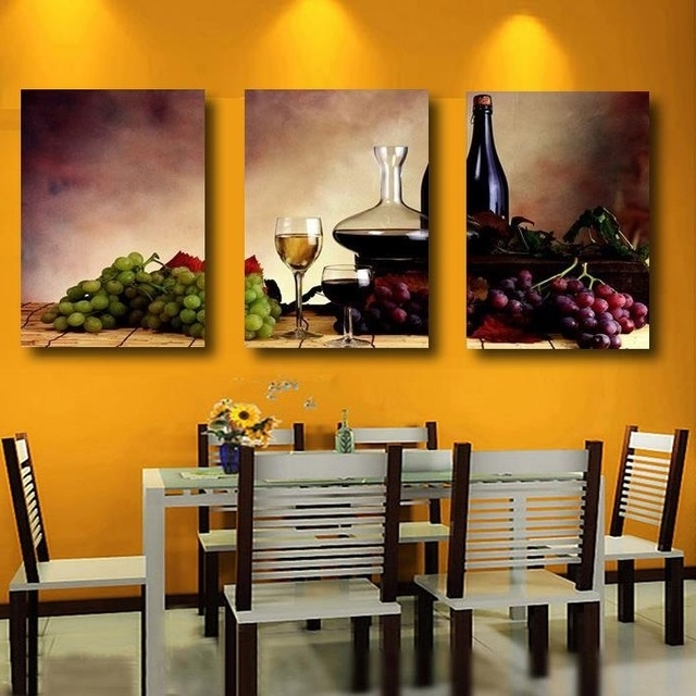 3 Pieces Modern Wall Oil Painting Abstract Wine Fruit Kitchen Wall With Regard To Current Abstract Kitchen Wall Art (View 2 of 15)