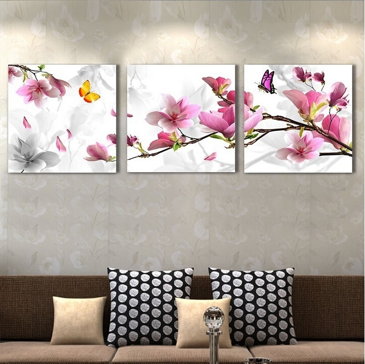 3 Pieces/set Modern Home Decoration Wall Art Picture For Living Room Within Newest Pink Flower Wall Art (View 2 of 15)