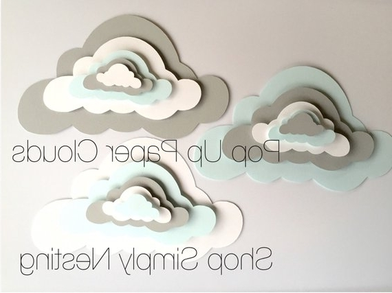 3 Pop Up Paper Clouds, Cloud Wall Art, 3 3D Paper Clouds, Cloud Regarding Latest 3D Clouds Out Of Paper Wall Art (View 9 of 15)