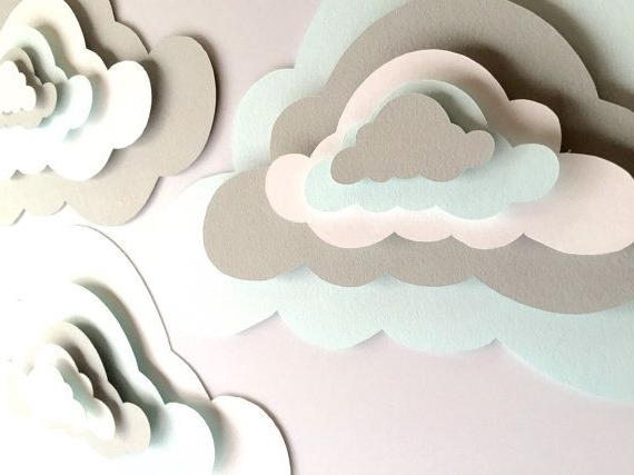 3 Pop Up Paper Clouds, Cloud Wall Art, 3 3D Paper Clouds, Cloud With Regard To Trendy 3D Clouds Out Of Paper Wall Art (View 3 of 15)