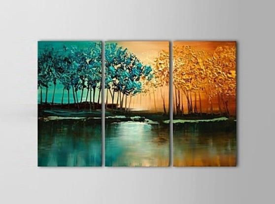 "36"" X 24"" Tree Wall Art, Textured Painting, 3 Piece Canvas Art with 2018 Large Triptych Wall Art"