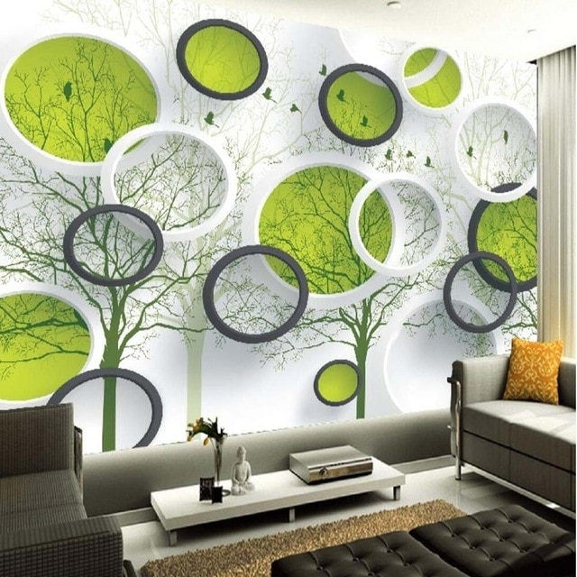 3D Abstract Circle Photo Wallpaper Mural For Living Room Tv In Latest Abstract Circles Wall Art (View 2 of 15)