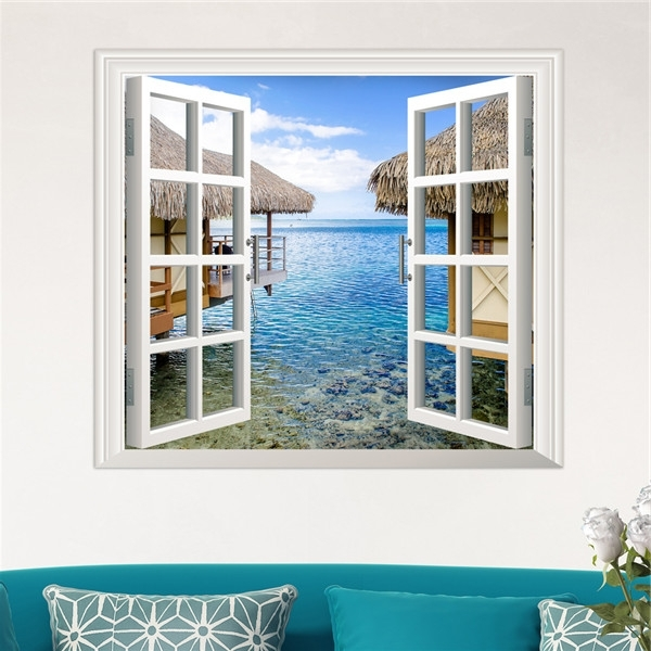3D Artificial Window View 3D Wall Decals Sea View Room Stickers Home Within Most Recently Released 3D Wall Art Window (View 7 of 15)