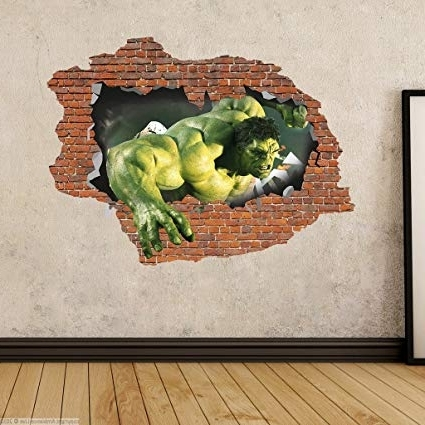 3D Artwork On Wall Pertaining To 2018 Buy Decor Kafe Wall Sticker( Brick Hulk Side 1 3D Art Sticker Pvc (View 4 of 15)