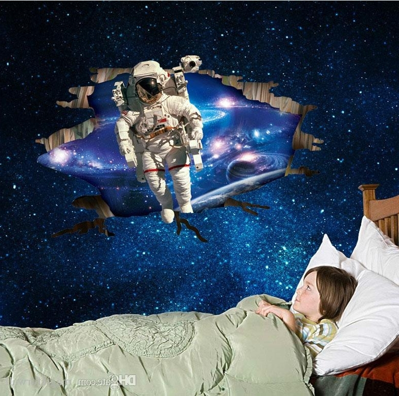 3D Astronaut Came Through Outer Space Wall Art Mural Decal Sticker Inside Best And Newest Outer Space Wall Art (View 2 of 15)