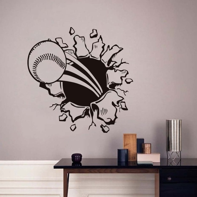 3D Baseball Hole Wall Decal Waterproof Art Vinyl Sports Decals Self For Preferred Baseball 3D Wall Art (View 9 of 15)