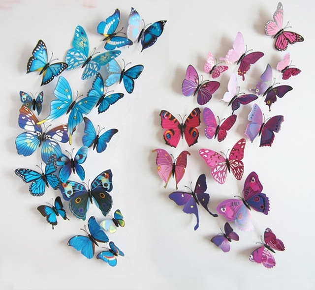 3D Butterfly Wall Art Inside Best And Newest 12Pcs/set Pvc 3D Butterfly Wall Sticker Wall Art Removable Home (View 3 of 15)