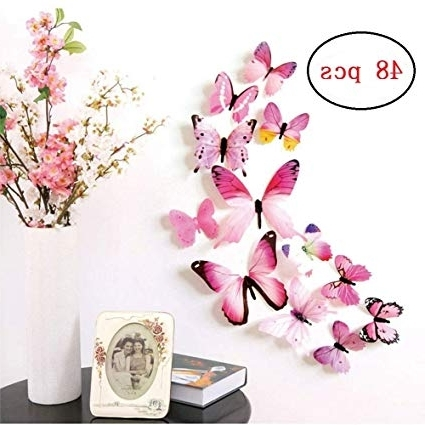 3D Butterfly Wall Art Intended For 2017 Amazon: 48 Pcs Removable 3D Butterfly Wall Stickers Decals Diy (View 11 of 15)