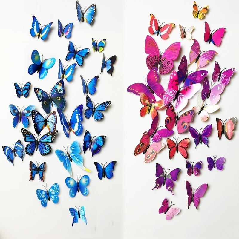 3D Butterfly Wall Art throughout Popular Pvc 3D Butterfly Wall Decor Cute Butterflies Wall Stickers Art