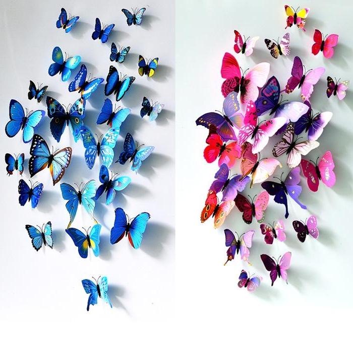 3D Butterfly Wall Stickers Butterflies Docors Art Diy Decorations within Favorite Butterflies Wall Art Stickers
