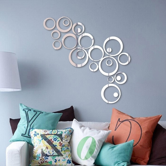 3D Circle Wall Art Intended For Well Known 24Pcs/set Removable 3D Modern Mirror Effect Wall Sticker Circle Ring (View 12 of 15)