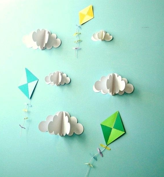 3D Clouds Out Of Paper Wall Art Kite Decals Paper Decals Wall Decals With Preferred 3D Clouds Out Of Paper Wall Art (View 5 of 15)