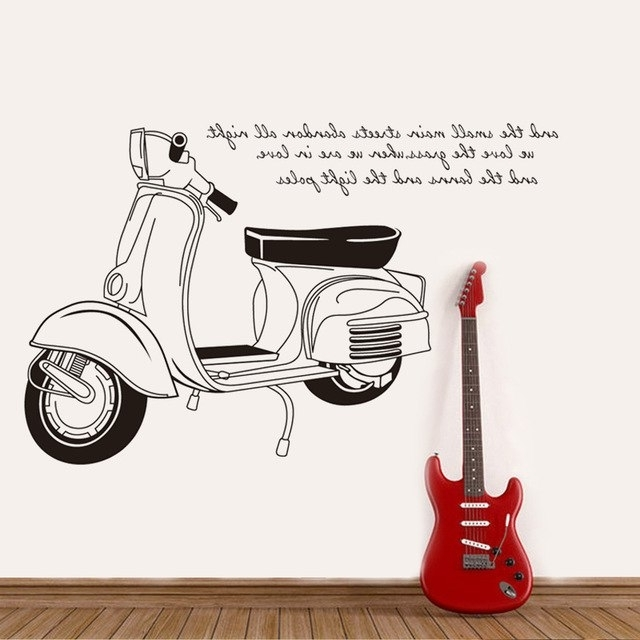 3D Creative Black And White Motorcycle Wall Stickers Pvc Material inside Recent Vespa 3D Wall Art