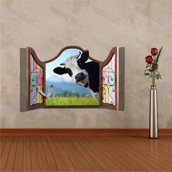 3D Dairy Cow Artificial Window View Cattle 3D Wall Decals Stickers For 2017 3D Wall Art Window (View 13 of 15)
