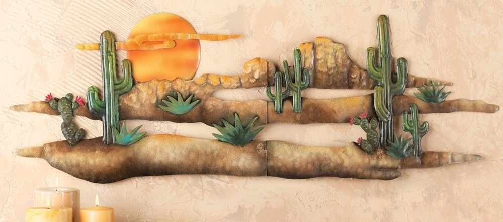 3D Desert Sunset Cactus Southwest Hanging Metal Wall Art Accent With Regard To Most Recently Released Southwestern Metal Wall Art (View 2 of 15)