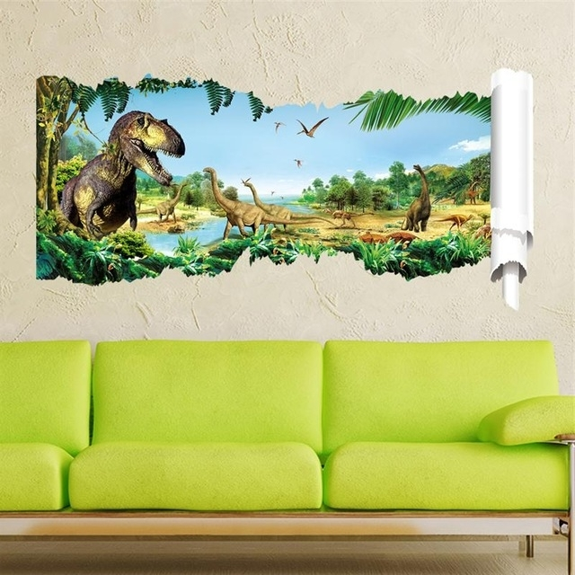 3D Dinosaur Wall Art Decor For 2017 3D Dinosaurs Wall Stickers Living Room Decoration Accident Animals (View 2 of 15)