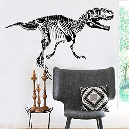 3D Dinosaur Wall Art Decor Pertaining To Most Popular Amazon: Amaonm Removable Creative Black Vinyl Dinosaur Sketch (View 3 of 15)