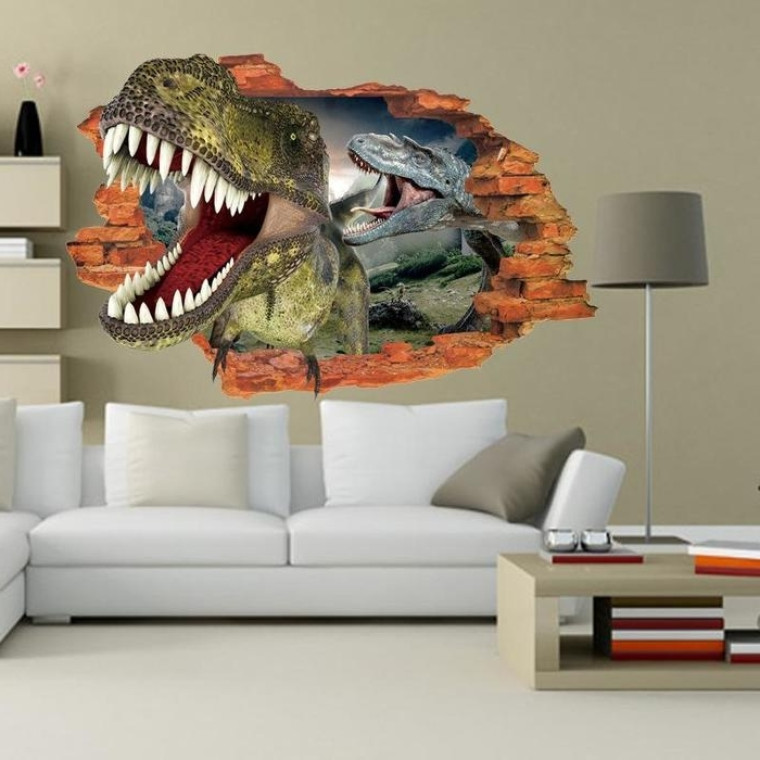 3D Dinosaur Wall Art Decor Regarding Trendy  (View 5 of 15)