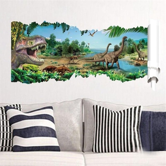 3D Dinosaurs Wall Stickers Jurassic Park Home Decoration  (View 8 of 15)