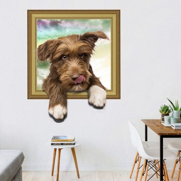 3D Dog Wall Stickers Decals Toilet Stickers Home Art Murals