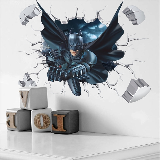 3D Effect Batman Wall Sticker For Kids Boys Rooms Home Decor Wall pertaining to Preferred Batman 3D Wall Art