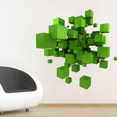 3D Effect Space Cubes Sticker Wall Decor · Moonwallstickers In Best And Newest Space 3D Vinyl Wall Art (View 1 of 15)