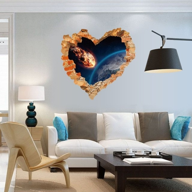 3D Effect Wall Art with Fashionable Broken Wall Art Decal Shooting Star Into Earth 3D Effect Wall
