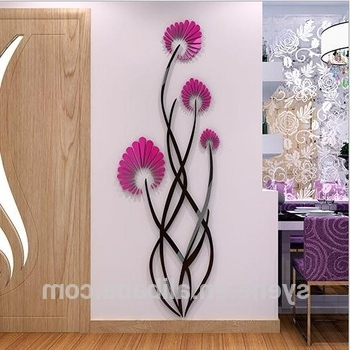 3D Flower Wall Art Regarding Best And Newest Red Acrylic Plastic Art 3D Flower Wall Stickers Diy Home Room Decals (View 4 of 15)