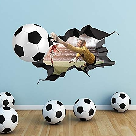 3D Football Full Colour Cracked Goal Wall Art Stickers Decal Boys Within Fashionable Football 3D Wall Art (View 3 of 15)