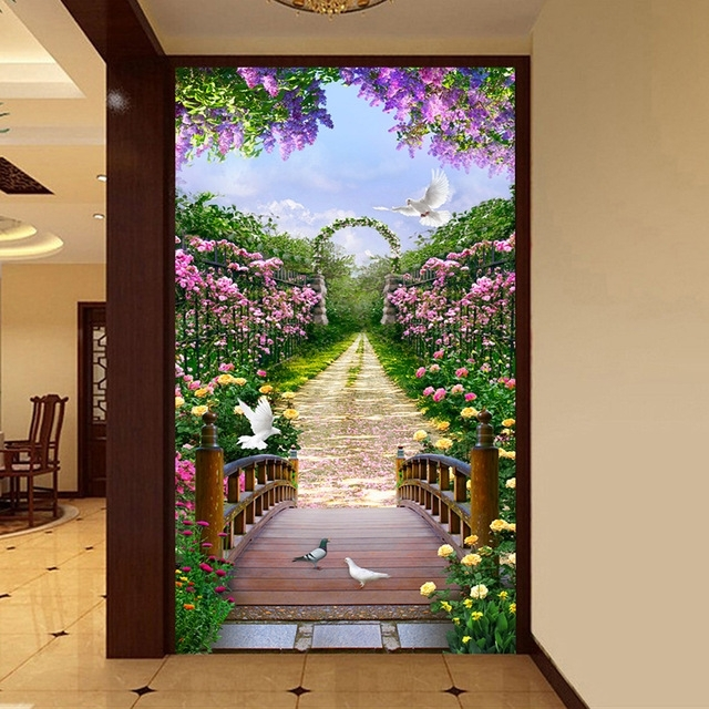 3D Garden Wall Art Regarding Most Recently Released 3D Living Room Entrance Wall Decor Custom Mural Photo Wallpaper (View 4 of 15)