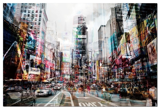 3D Glass Wall Art in Popular Tempered Glass Wall Art, 3D Times Square New York 1 - Traditional