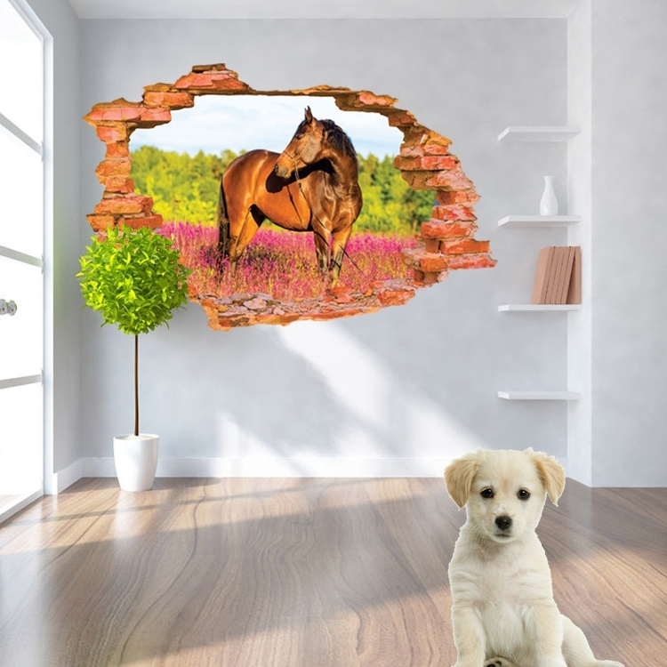 3D Horse Wall Art Intended For Best And Newest Aliexpress : Buy 3D Horse Photo Wall Stickers Home Decoration (View 1 of 15)