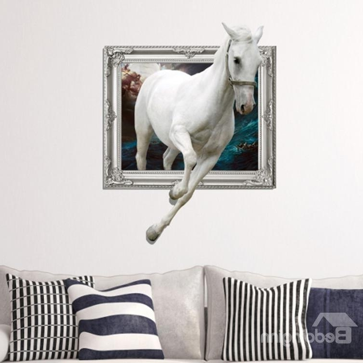 3D Horse Wall Art with regard to Newest Amazing Creative 3D White Running Horse Wall Sticker - Beddinginn