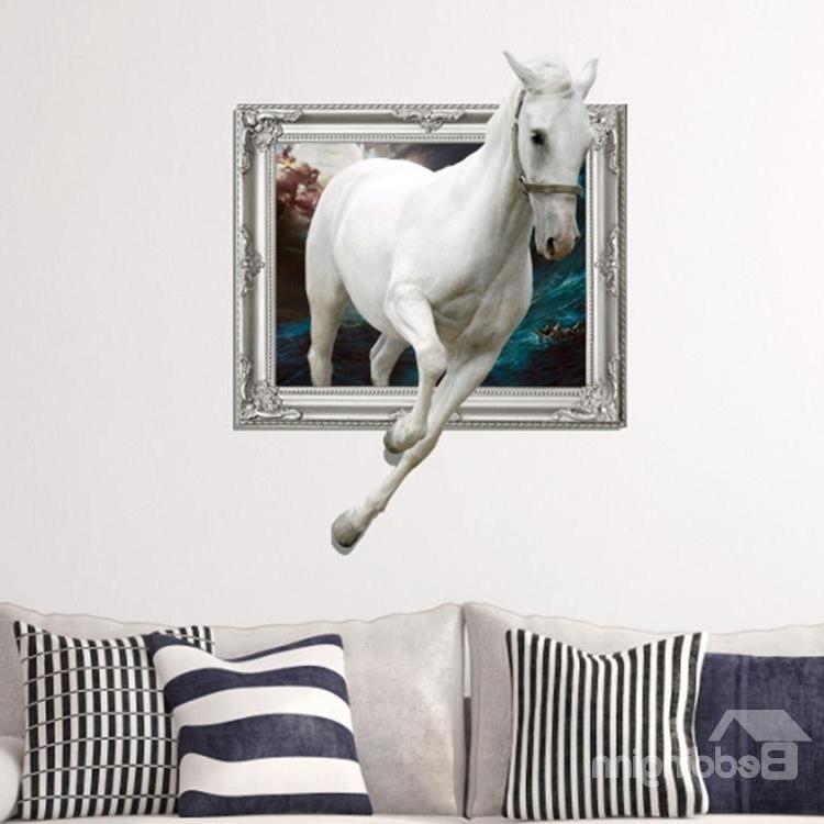 3D Horse Wall Art With Regard To Newest Amazing Creative 3D White Running Horse Wall Sticker – Beddinginn (View 2 of 15)