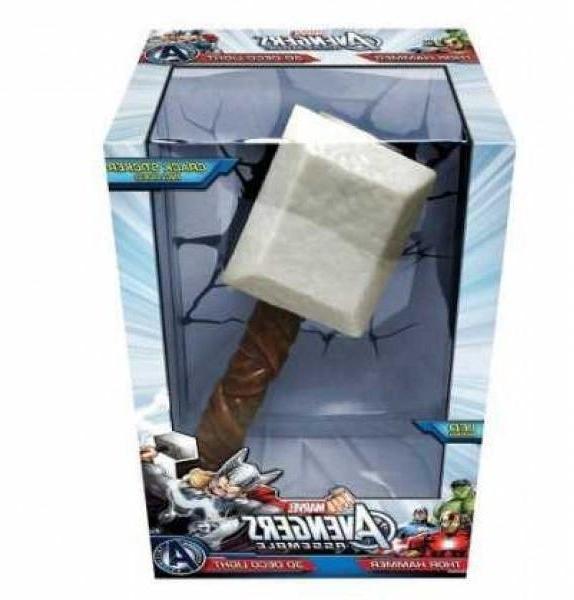 3D Light Fx The Avengers 3D Wall Art Nightlight - Thor Hammer regarding Latest 3D Wall Art Thor Hammer Night Light