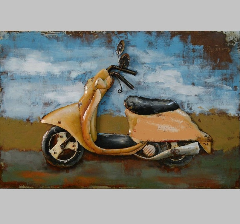 3D Metal Wall Art Scooter Painting – Avant Garden Uk For Preferred Vespa 3D Wall Art (View 2 of 15)