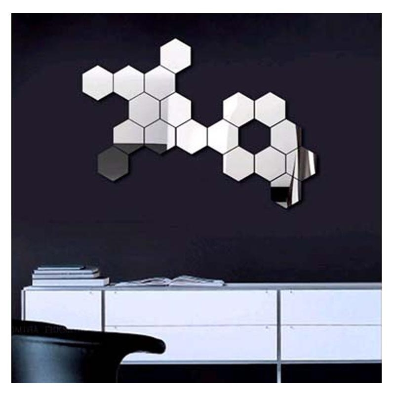 3D Modern Mirror Geometric Hexagon Acrylic Wall Sticker Art Diy Inside Current Modern Mirror Wall Art (View 2 of 15)