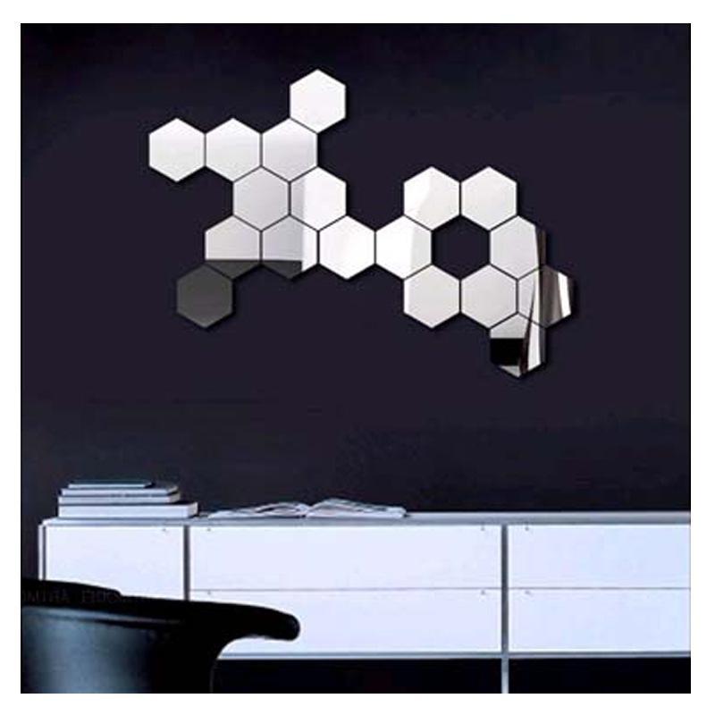 3D Modern Mirror Geometric Hexagon Acrylic Wall Sticker Art Diy intended for Most Popular Modern Mirrored Wall Art