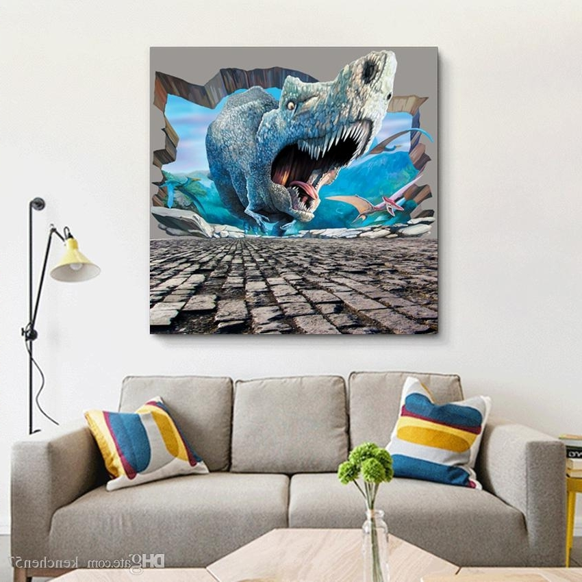 3D Modern Wall Art Inside Well Known 2018 3D Effect Animal Dinosaur Elephant Oil Painting Canvas (View 2 of 15)