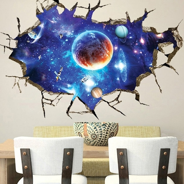 3D Outer Space Wall Stickers Home Decor Mural Art Removable Galaxy Intended For Most Up To Date Outer Space Wall Art (View 3 of 15)